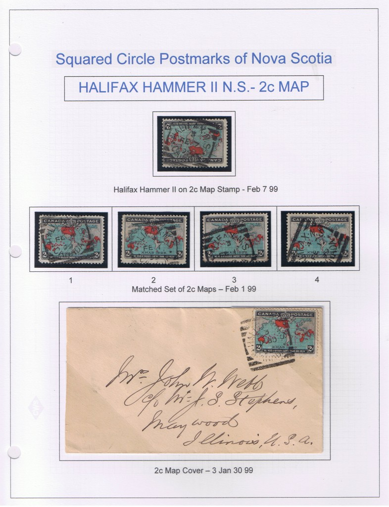 Halifax On Map Stamp Including Matched Set of Timemarks