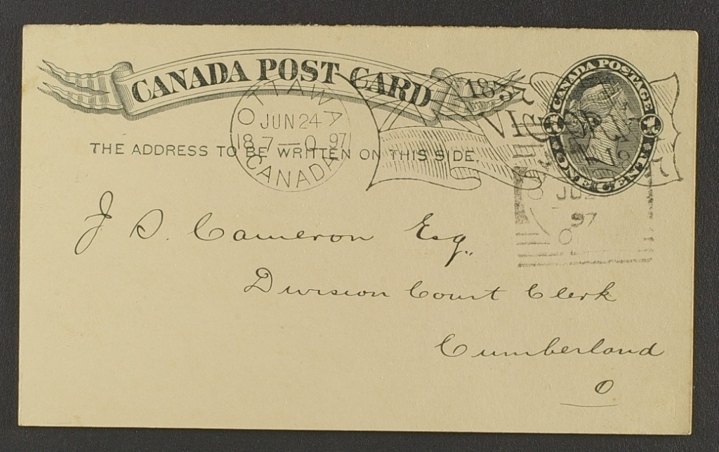 Cumberland Squared Circle Receiver with Ottawa jubilee Flag Cancel